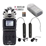 Zoom H5 4-Track Handy Recorder Bundle with Movo Omnidirectional and Cardioid XLR Lavalier Microphones