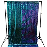 DUOBAO Sequin Photo Backdrop Purple to Turquoise Sequin Photo Backdrop 6FTx8FT Shimmer Curtains for Backdrop Sequin Curtain Reversible -1019K (Color: Reversible Lavender to Turquoise, Tamaño: 6FT x 8FT)