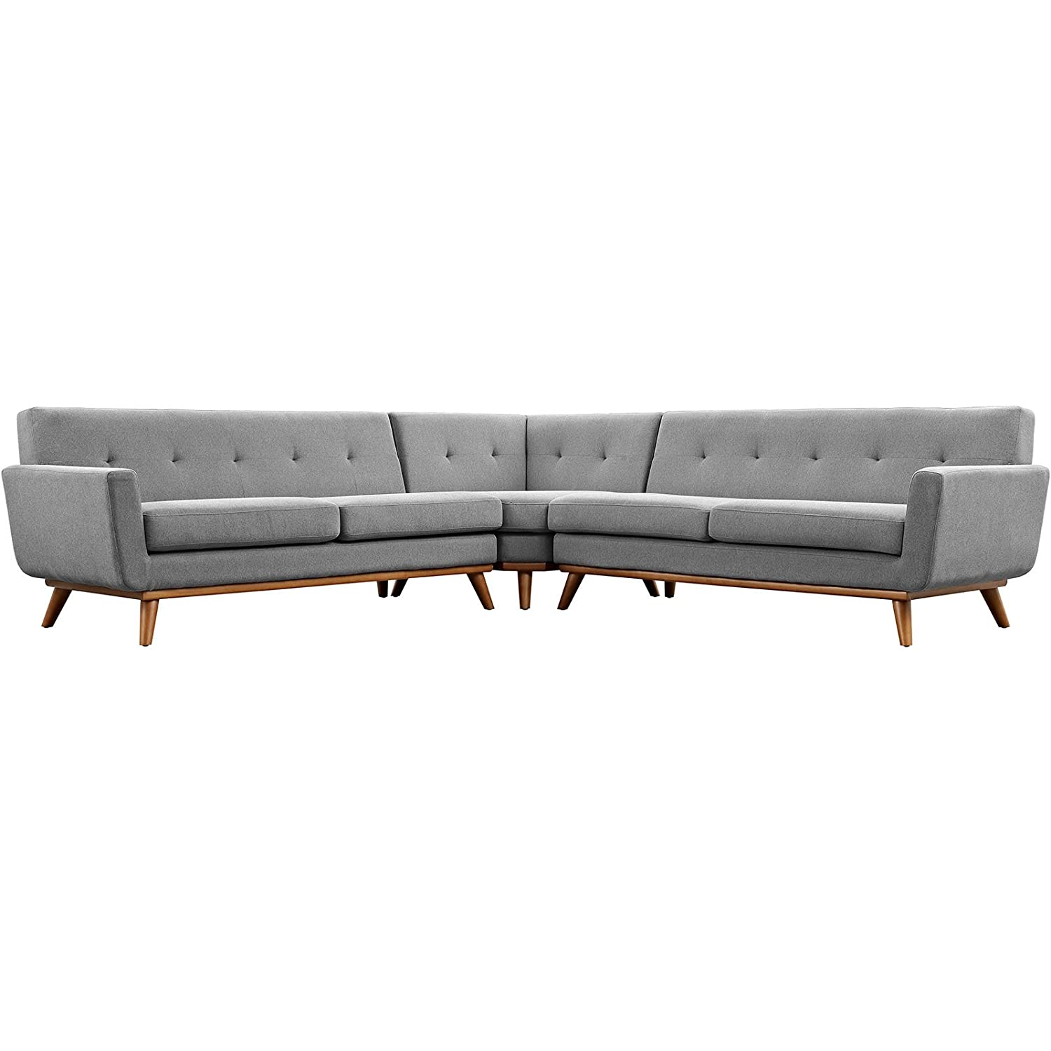 Modern Contemporary L-Shaped Sectional Sofa - Grey - Fabric
