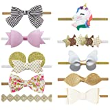DANMY Baby Girl Super Stretchy Headband Big Lace Petals Flower Baby Hair Band Newborn Hair Accessories (Bow set2 (as Show))