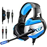 Gaming Headset, ONIKUMA Gaming headphone for PS4, Xbox One (Adapter Need), Nintendo Switch (Audio), PC, Stereo Noise Cancelling Gaming Headset, Dazzling LED Lights and Microphone (K5-Blue) (Color: Blue)