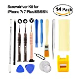 Esdabem Repair Tool Kit for iPhone 7 – Complete Premium Opening Pry Tool Kits with Premium Screwdriver Set for Apple 7, iPhone 7plus, 6Plus / 6S /6/5S/5/5C/4S/4/SE, iPod, iTouch (14 Pack)