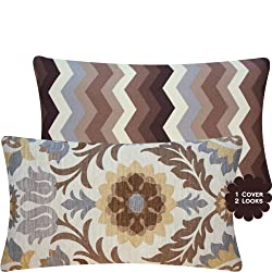 Chloe & Olive Cinco de Mayo Outdoor Coco Brown Pillow Collection - 20 Square and 12x20 Lumbar Accent Decorative Couch Pillow - Ivory Gray Grey Tan Espresso and shades of brown Hues - Floral and Chevron Zig Zag
