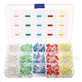 Light Emitting Diodes, Elfeland 750pcs 3mm 2Pin LED Lamp Assorted Diffused LED Kit White Yellow Red Blue Green for Arduino & DIY (5 colors x 150pcs) (Color: 750pcs*3mm, Tamaño: 750x3mm)
