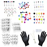 PiercingJ Body Piercing Kit 20G 16G 14G (Belly Button,Tongue, Eyebrow, Nipple, Lip, Nose, Chin) Gauge Piercing Needles (Color: 126pcs 14+16+20G)