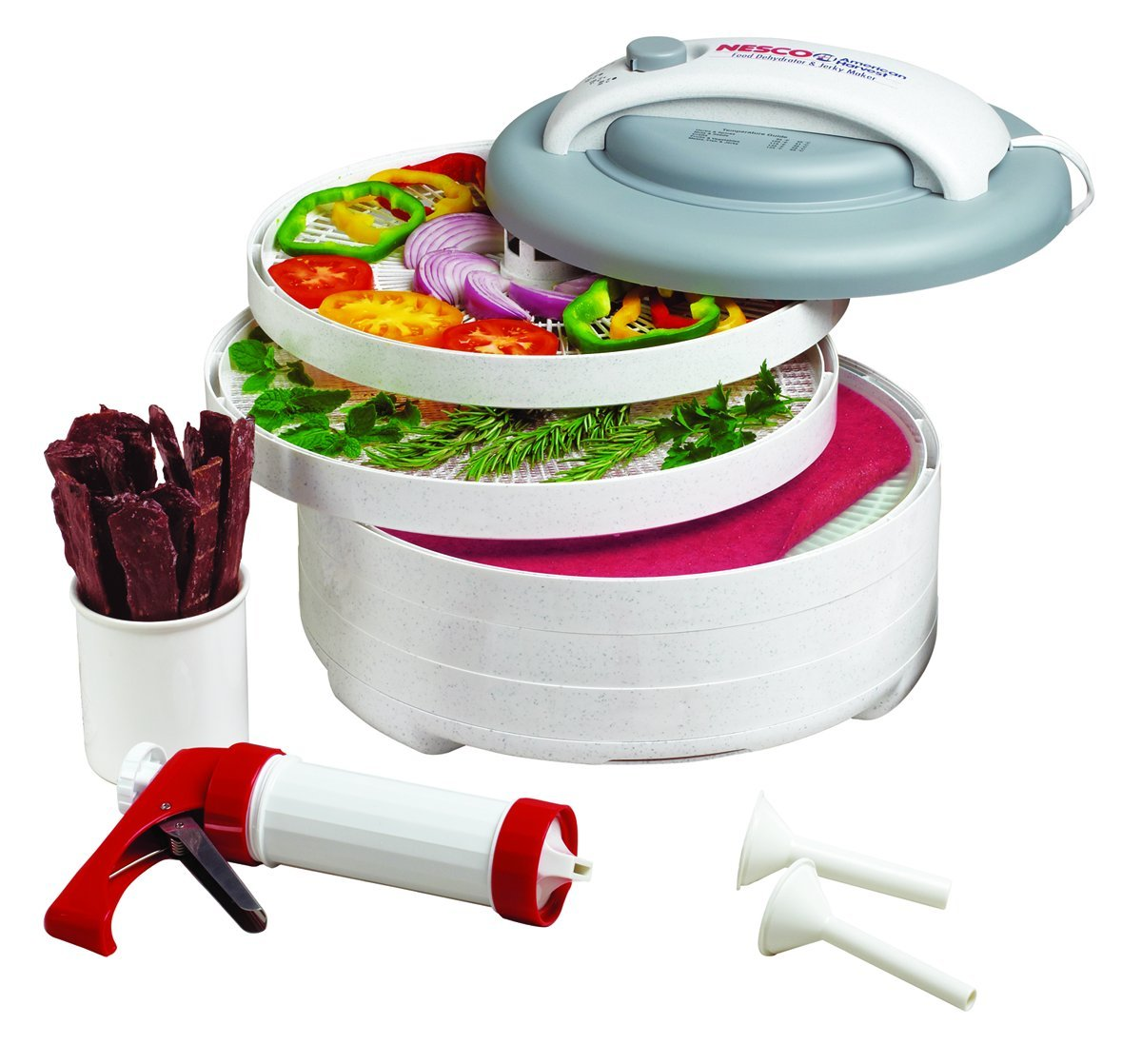 The Nesco FD-61WHC Snackmaster Express is a great machine to buy if you're going to be dehydrating food.