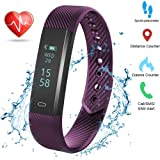Weton Fitness Activity Tracker with Heart Rate Monitor Bluetooth 4.0 Waterproof Smart Bracelet Wristband Pedometer with Sleep Monitor Calorie Counter