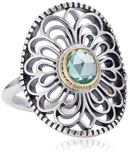 Pandora Sterling Silver Ring with Green Spinell