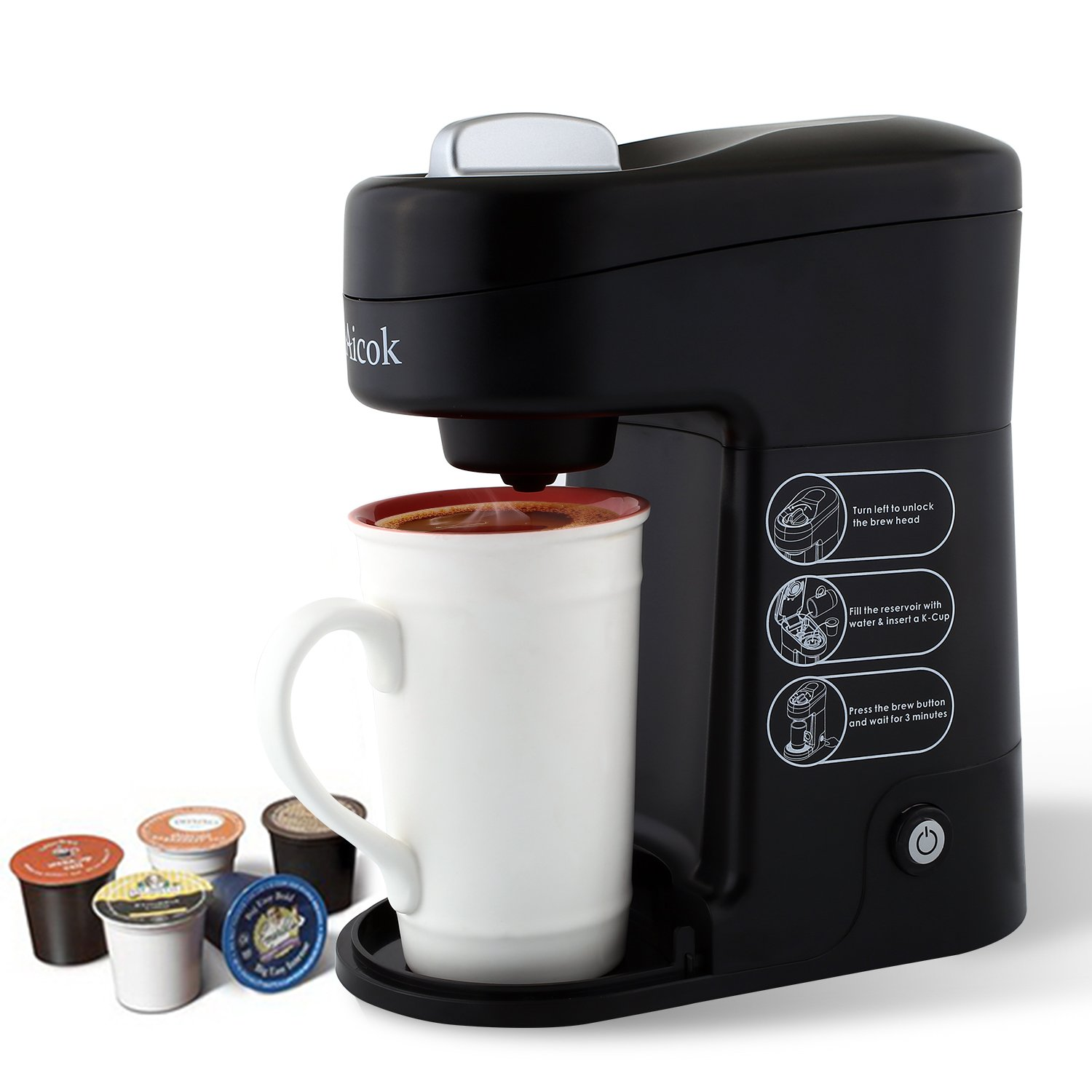 (UPGRADED) Aicok K-cup Coffeemaker Compact Single Serve Coffee Brewer