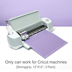 Funnygame 12x12 Cutting Mat for Cricut Maker/Explore Air 2/Air/One(Stronggrip, 3 Pack), Adhesive Cutting Mat with Non-Slip Flexible Square Gridded Purple Cut Mat for Crafts (Color: Purple for Cricut)