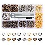 Metal Grommet Kit 3/16 inch 400Pcs Grommets Eyelets Sets with 3 Pieces Install Tool Kit and Box for Shoes Clothes Crafts Bag DIY Project 4 Colors (Color: gold, gunmetal, bronze and silver, Tamaño: 3/16 inch 400 Sets ,4 Colors)