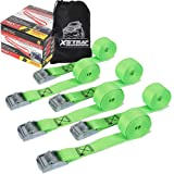 XSTRAP Cam Buckle Straps 6PK 8FT Powersports Tie-Downs 1-Inch Green (Color: Green)
