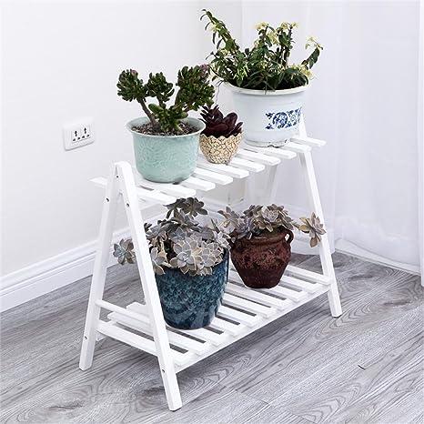 Weiß Massivholz Indoor und Outdoor Multi - Storey Blumen Regal Wohnzimmer Blumentöpfe Boden Balkon ( größe : 60*32*59cm )