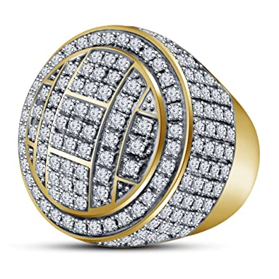 Vorra Fashion 14k Gold Plated 925 Silver 7.10 Ct Sim Diamond Round Dome Cluster Men's Pinky Ring