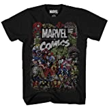 Marvel Comics Logo Thor Hulk Iron Man Avengers Spiderman Daredevil Strange Loki Thanos Adult Mens T-Shirt Apparel (Black,Large) (Color: Black, Tamaño: Large)