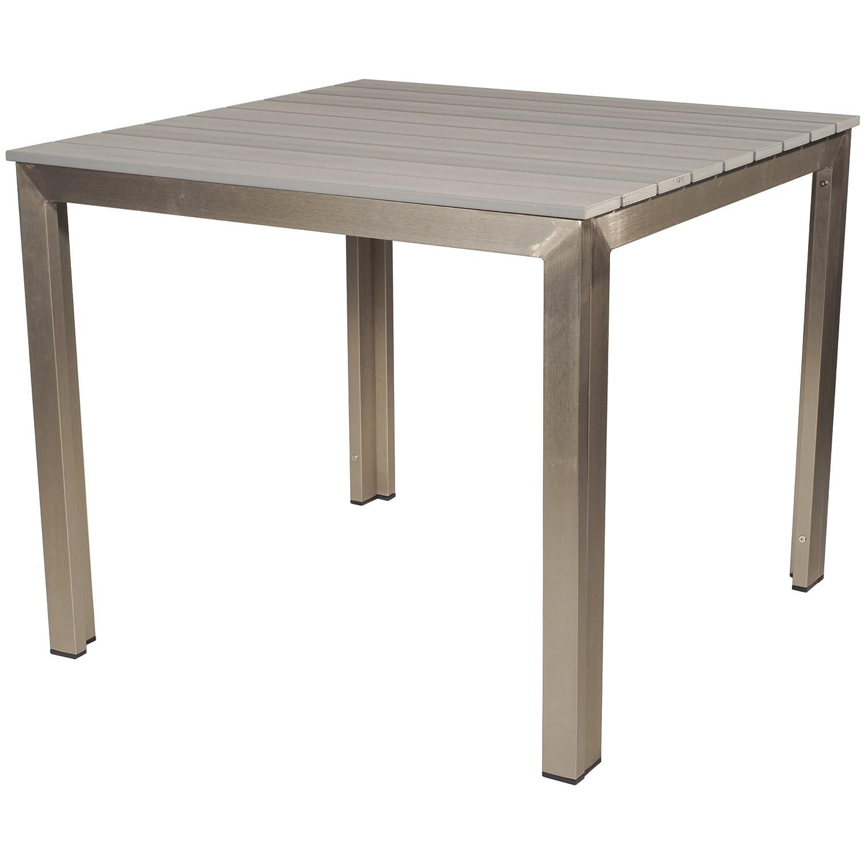 Gartentisch Polywood Polyholz 90 x 90 x 74 cm gebürstetes Aluminium grau günstig online kaufen