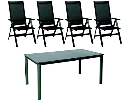 Sitzgruppe Möbelgruppe Gartensitzgruppe Acamp 4 Klappsessel urban anthrazit-carbon 1 Lofttisch acaplan 160x90 cm schiefer-anthrazit