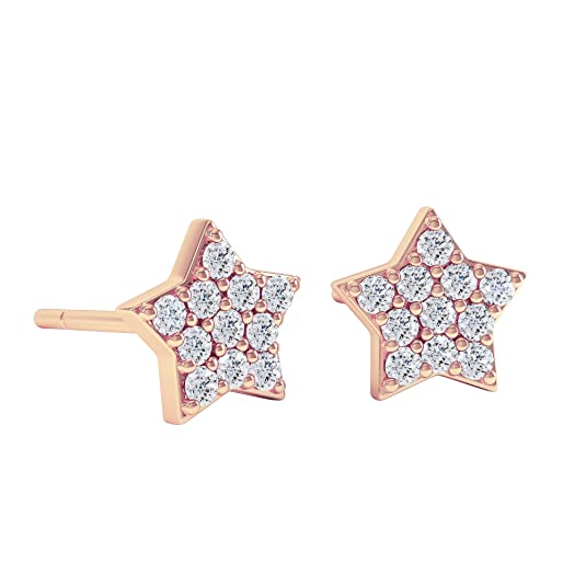 18ct Rose Gold Diamond Star Stud Earrings