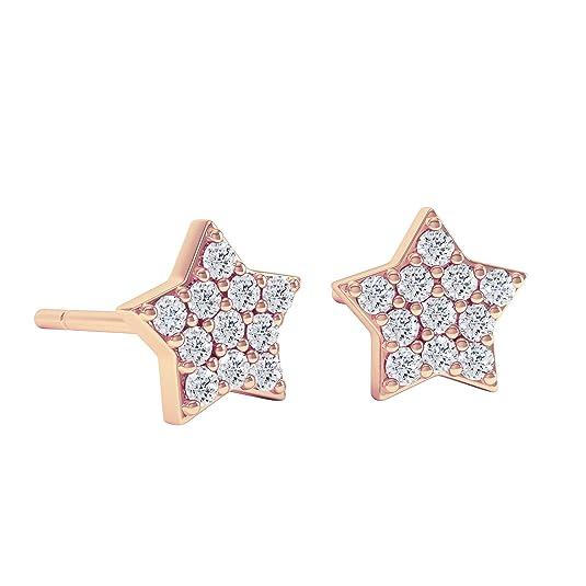 18ct Rose Gold Diamond Star Stud Earrings