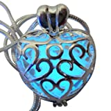 umbrellalaboratory Wishing Heart Fairy Magical Fairy Glow in the Dark Necklace-blue-sil (Color: Blue, Tamaño: small, medium,large, x-large, xx-large)