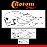 Custom Shop Airbrush Skull Fire Flame Stencil Set (Skull Design #1 in 3 Scale Sizes) - Laser Cut Reusable Templates - Auto, Motorcycle Graphic Art (Tamaño: Flame Skull #1)