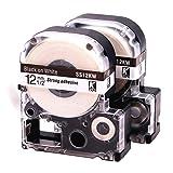 LKLC LabelTapeCartridge CompatibleEpsonLabelworksLW-300LW-400LW-500LW-600plabelprinters,BlackOnWhiteLC-4WBN9(LK-4WBN),1/2