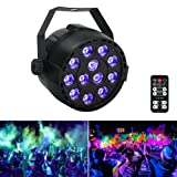LaluceNatz Black Lights with 36W 12LEDs UV Par Light by IR Remote and DMX Controller for Body Paint, Fluorescent Poster, Glow in the Dark Party
