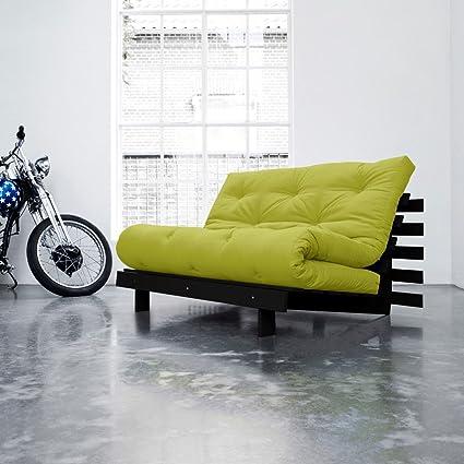 ROOTS-KARUP 140 CM sofá y cama verde sobre plegable madera tintada de wengué