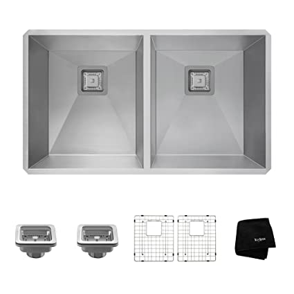 "Kraus KHU322 Pax Zero-Radius 31 1/2"" 16 Gauge Handmade Undermount 50/50 Double Bowl Stainless Steel Kitchen Sink"