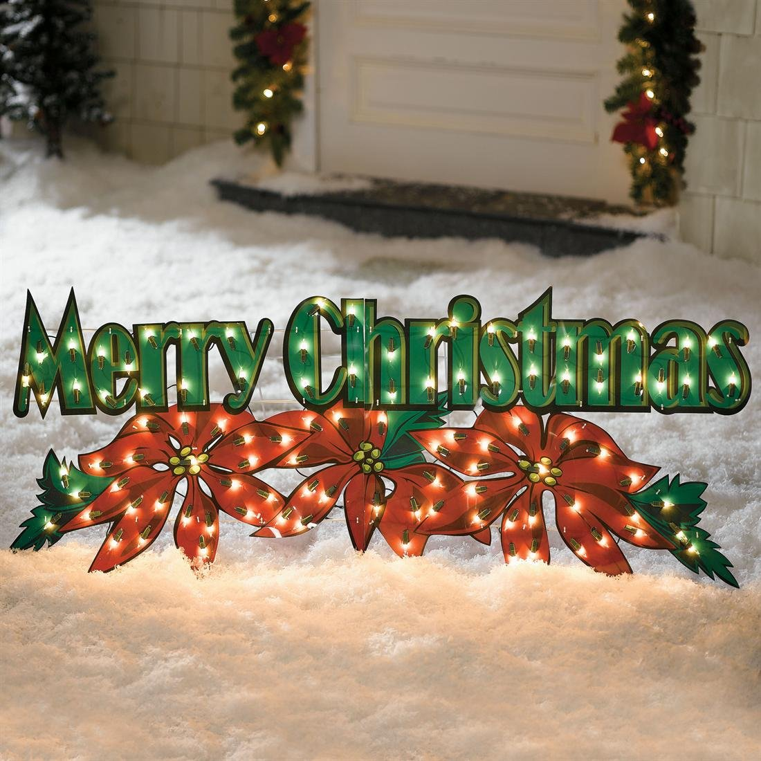 Outdoor merry christmas poinsettia holiday decoration yard for Outdoor lighted christmas