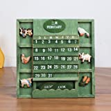 LANGUGU Shabby Chic Vintage Creative Mediterranean Style Wallmount Wooden Adjustable Cubes Calendar Perpetual Desk Calendar Home Office Furnishing DIY Yearly Planner Calendar Shops Ornaments (Green) (Color: Green)