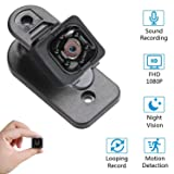 Hidden Spy Cameras, 1080P Mini Spy Camera with Audio and Video, Night Vision and Motion Detective - No WiFi Need (Color: Black, Tamaño: Small)