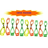 AT01 Mixed Color Safett Guard Glove Clips Belt Clips,Utility Catcher Clip Hook Belt Clips, Glove Carrier Clips, Safety Clips for Glove,Helmet, Earnuff, Mask, Cable, Cord, Rope (10 PCS PACK) (Color: YELLOW,GREEN,ORANGE)