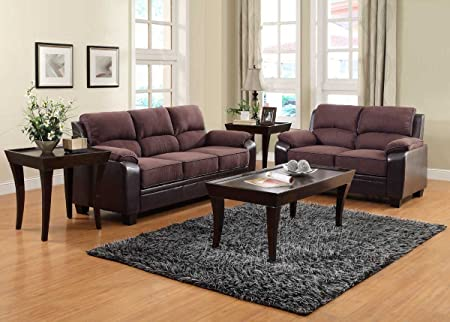 Homelegance Ellie Sofa Set - Dark Brown Microfiber and Bi-Cast U9727-3
