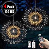4 packs Firework Lights Copper Wire LED Lights, 8 Modes 150 LED Dimmable String Fairy Lights with Remote Control, Waterproof Hanging Starburst Lights for Parties,Home,Christmas Outdoor Decoration (Color: 150 LED Flower WarmWhite_White, Tamaño: 4 pack)