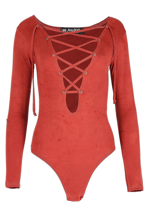 Be Jealous Womens V-ausschnitt Tief Ausgeschnitten Body Womens Front Gebunden Veloursleder Schlicht Bodysuit