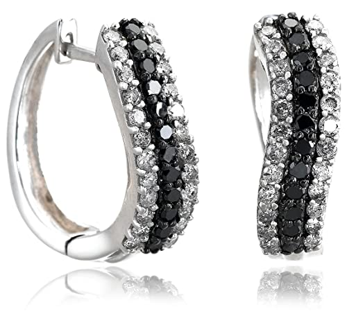 Sterling Silver Black and White 1 Carat Diamond Earrings