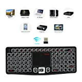 REIIE (2018 Backlit Version) K03 Mini Qwerty Keyboard Adjustable DPI Touchpad for PC, HTPC, Apple, Xbox360, Wii, PS3, Black