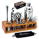 Elite 23-Piece Bartender Kit Cocktail Shaker Set by BARILLIO: Stainless Steel Bar Tools With Sleek Bamboo Stand, Velvet Carry Bag & Recipes Booklet | Ultimate Drink Mixing Adventure (Color: Silver, Tamaño: 23 pcs Bar Set with Stand)