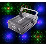 DJ Laser Lights Projector Red Green Blue Laser,Stage Laser, With Bule LED, 48 Patterns Gobos, Sound Activated Remote-control Decoration Lighting System for Party DJ Disco Club