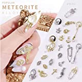 Lookathot 24PCS/Set 3D Zircon Nail Art Decals Mixed Design Gold Silver Pearl Chain Jewelry Meteorite Metallic Studs Rhinestones Accessories Alloy Manicure DIY Decoration Tools (Color: as picture show, Tamaño: 8mm)