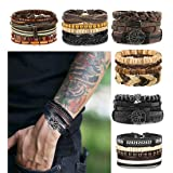 LOLIAS 24 Pcs Woven Leather Bracelet for Men Women Cool Leather Wrist Cuff Bracelets Adjustable (Color: Style A)