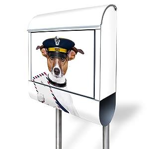 Design Standbriefkasten aus Edelstahl mit Motiv Postbote Jack Russel   Kundenbewertung und Beschreibung