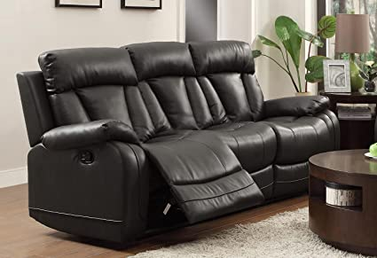 Homelegance 8500BLK-3 Double Reclining Sofa, Bonded Leather Match, Black