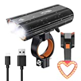 Victagen USB Rechargeable Bike Light Set, Super Bright 2400 Lumens and Rechargeable Bike Tail Light and Helmet Light, Waterproof Bike Headlamp and Taillight Easy to Mount Fit Mountain Bikes (Color: Bike Headlight & Taillight)