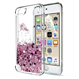 iPod Touch 6 Case, iPod Touch 5 Liquid Case with HD Screen Protector for Girls,LeYi Shiny Glitter Quicksand Clear TPU Protective Phone Case for Apple iPod Touch 6th / 5th Generation ZX Rose Gold (Color: ZX Rose Gold)