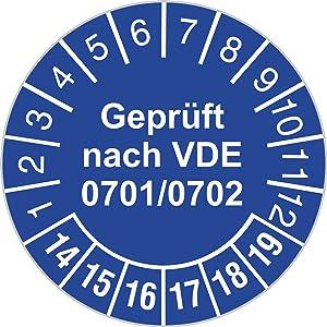 Prüfplakette Geprüft nach VDE 0701/0702 blau 20142019 30 mm Durchmesser selbstklebend 1000 Stück  Kundenbewertung und Beschreibung