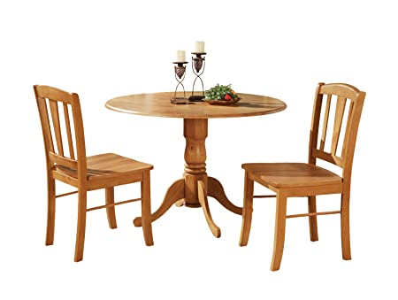 East West Furniture DLIN3-OAK-W 3-Piece Kitchen Table Set, Oak Finish