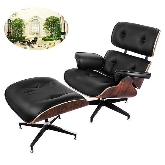 Ultraselect Mid Century lounge poltrona e ottomano set strati laminato noce impiallacciato Eames Style lounge Chair ottomano sedia ufficio cuscini Lounge in schiuma di poliuretano con base in alluminio pressofuso, altamente