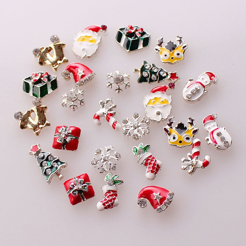 ECBASKET 24pcs Christmas Colorful Alloy 3D Rhinestone Fake Diamond Crystal Nail Art Tips Slice Decoration Santa Claus Frost Socks Snowman Rings Deers 1pack colorful mixed size nail art rhinestones shiny ab crystal non hotfix flatback glass 3d diy gems manicure nails decorations
